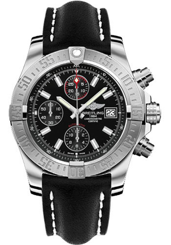 Breitling Watches - Avenger II Leather Strap - Deployant Buckle - Style No: A1338111/BC32-leather-black-deployant