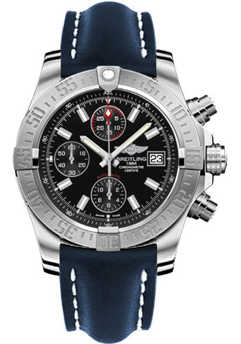Breitling Watches - Avenger II Leather Strap - Deployant Buckle - Style No: A1338111/BC32-leather-blue-deployant