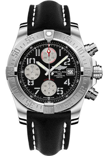 Breitling Watches - Avenger II Leather Strap - Deployant Buckle - Style No: A1338111/BC33-leather-black-deployant