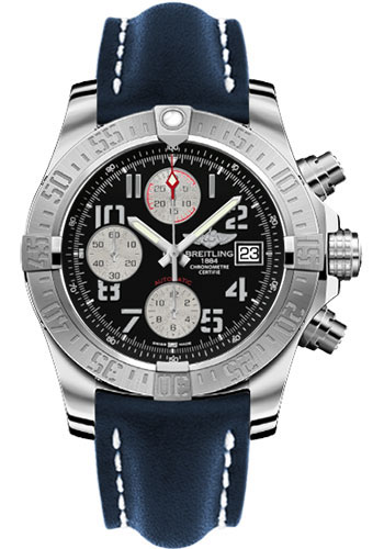 Breitling Watches - Avenger II Leather Strap - Deployant Buckle - Style No: A1338111/BC33-leather-blue-deployant