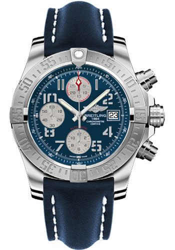 Breitling Watches - Avenger II Leather Strap - Deployant Buckle - Style No: A1338111/C870-leather-blue-deployant
