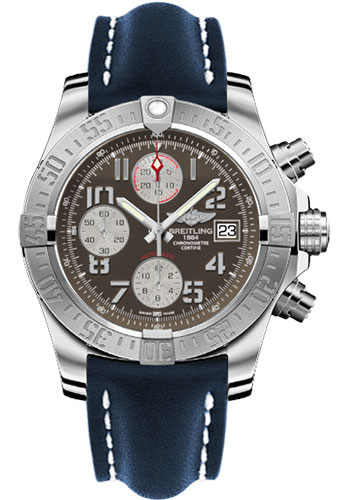 Breitling Watches - Avenger II Leather Strap - Deployant Buckle - Style No: A1338111/F564-leather-blue-deployant