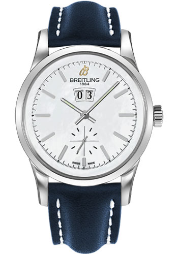 Breitling Watches - Transocean 38 Leather Strap - Tang - Style No: A1631012/A764-leather-blue-tang