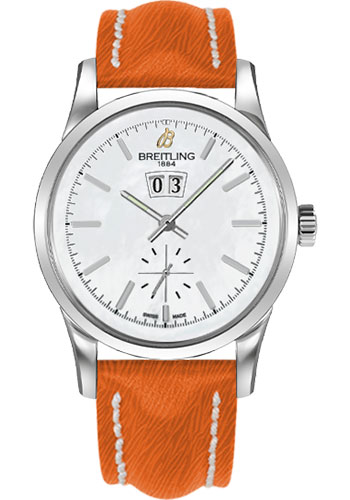 Breitling Watches - Transocean 38 Sahara Strap - Deployant - Pearl Dial - Style No: A1631012/A764-sahara-orange-deployant
