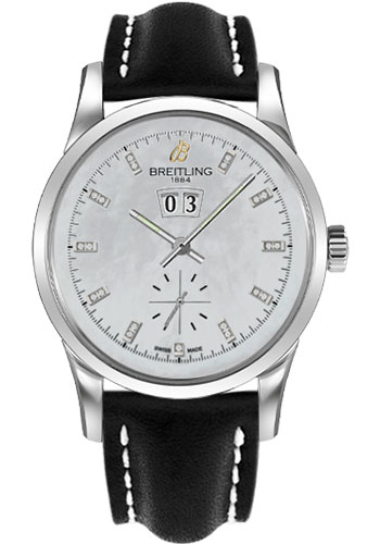 Breitling Watches - Transocean 38 Leather Strap - Tang - Style No: A1631012/A765-leather-black-tang