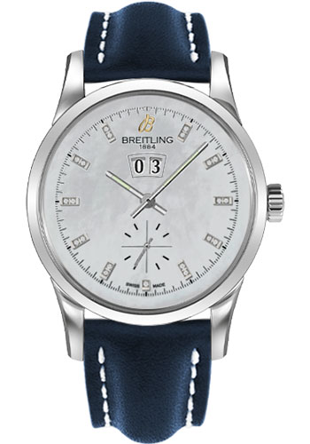 Breitling Watches - Transocean 38 Leather Strap - Tang - Style No: A1631012/A765-leather-blue-tang