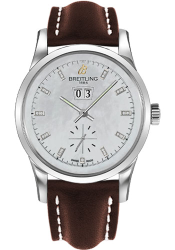 Breitling Watches - Transocean 38 Leather Strap - Tang - Style No: A1631012/A765-leather-brown-tang