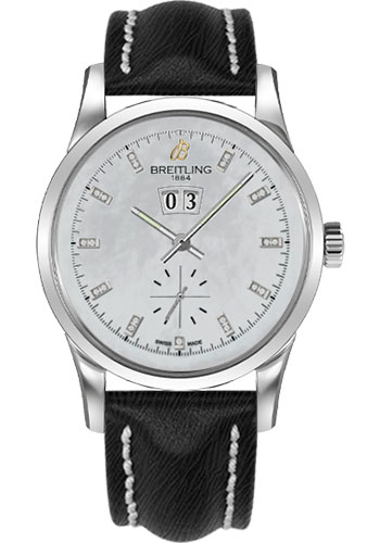 Breitling Watches - Transocean 38 Sahara Strap - Deployant - Pearl Dia Dial - Style No: A1631012/A765-sahara-black-deployant