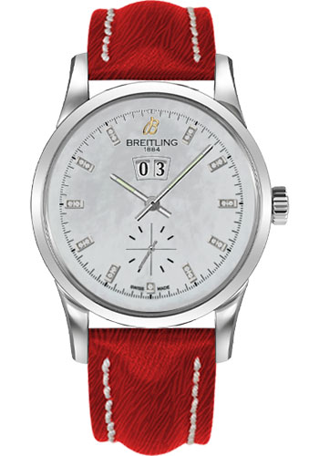 Breitling Watches - Transocean 38 Sahara Strap - Deployant - Pearl Dia Dial - Style No: A1631012/A765-sahara-red-deployant