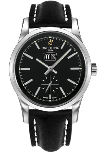 Breitling Watches - Transocean 38 Leather Strap - Deployant - Style No: A1631012/BD15-leather-black-deployant