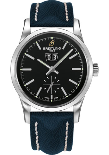 Breitling Watches - Transocean 38 Sahara Strap - Deployant - Black Dial - Style No: A1631012/BD15-sahara-blue-deployant