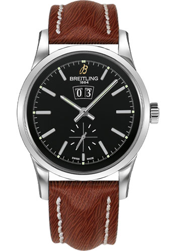 Breitling Watches - Transocean 38 Sahara Strap - Deployant - Black Dial - Style No: A1631012/BD15-sahara-brown-deployant