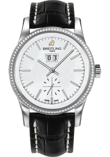 Breitling Watches - Transocean 38 Dia Bezel - Croco Strap - Deployant - Style No: A1631053/A764-croco-black-deployant