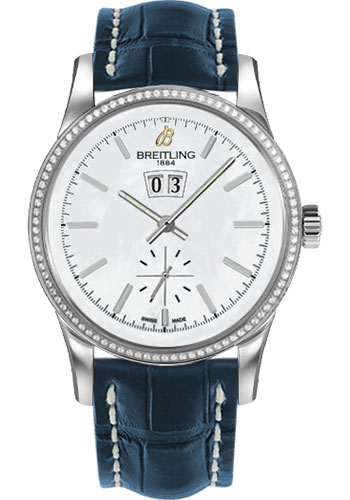 Breitling Watches - Transocean 38 Dia Bezel - Croco Strap - Deployant - Style No: A1631053/A764-croco-blue-deployant