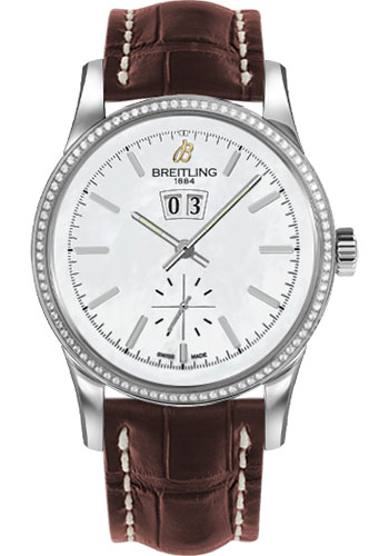 Breitling Watches - Transocean 38 Dia Bezel - Croco Strap - Deployant - Style No: A1631053/A764-croco-brown-deployant