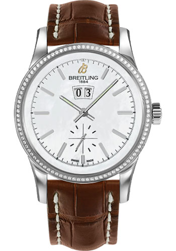Breitling Watches - Transocean 38 Dia Bezel - Croco Strap - Deployant - Style No: A1631053/A764-croco-gold-deployant