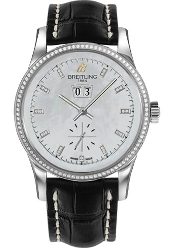 Breitling Watches - Transocean 38 Dia Bezel - Croco Strap - Deployant - Style No: A1631053/A765-croco-black-deployant