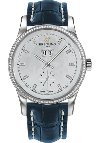 Breitling Watches - Transocean 38 Dia Bezel - Croco Strap - Deployant - Style No: A1631053/A765-croco-blue-deployant
