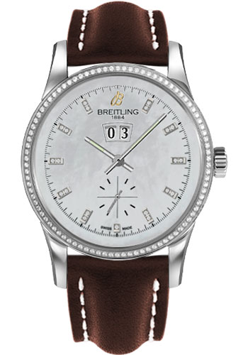 Breitling Watches - Transocean 38 Dia Bezel - Leather Strap - Tang - Style No: A1631053/A765-leather-brown-tang