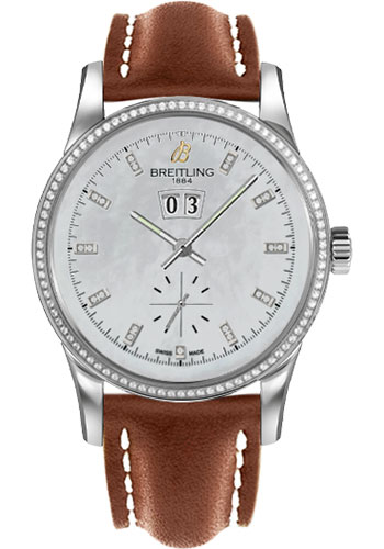 Breitling Watches - Transocean 38 Dia Bezel - Leather Strap - Tang - Style No: A1631053/A765-leather-gold-tang
