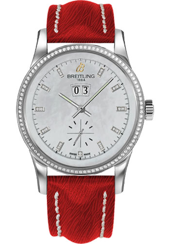 Breitling Watches - Transocean 38 Dia Bezel - Sahara Strap - Deployant - Pearl Dia Dial - Style No: A1631053/A765-sahara-red-deployant