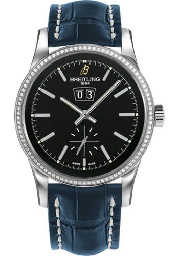 Breitling Watches - Transocean 38 Dia Bezel - Croco Strap - Deployant - Style No: A1631053/BD15-croco-blue-deployant