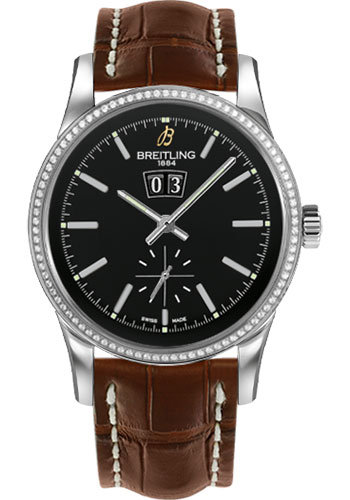 Breitling Watches - Transocean 38 Dia Bezel - Croco Strap - Deployant - Style No: A1631053/BD15-croco-gold-deployant