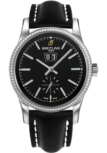 Breitling Watches - Transocean 38 Dia Bezel - Leather Strap - Tang - Style No: A1631053/BD15-leather-black-tang