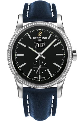 Breitling Watches - Transocean 38 Dia Bezel - Leather Strap - Tang - Style No: A1631053/BD15-leather-blue-tang