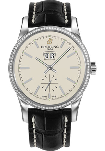 Breitling Watches - Transocean 38 Dia Bezel - Croco Strap - Deployant - Style No: A1631053/G781-croco-black-deployant