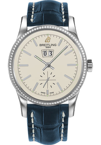 Breitling Watches - Transocean 38 Dia Bezel - Croco Strap - Deployant - Style No: A1631053/G781-croco-blue-deployant