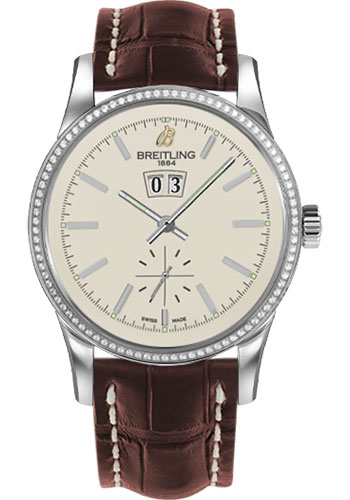 Breitling Watches - Transocean 38 Dia Bezel - Croco Strap - Deployant - Style No: A1631053/G781-croco-brown-deployant