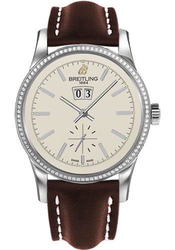 Breitling Watches - Transocean 38 Dia Bezel - Leather Strap - Tang - Style No: A1631053/G781-leather-brown-tang