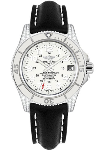 Breitling Watches - Superocean II 36mm - Diamond Case - Leather Strap - Style No: A1731267/A775-leather-black-deployant