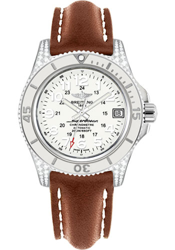Breitling Watches - Superocean II 36mm - Diamond Case - Leather Strap - Style No: A1731267/A775-leather-gold-deployant