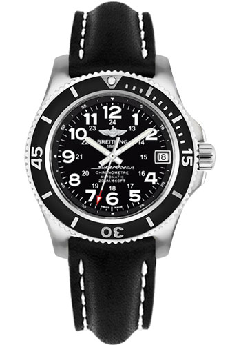 Breitling Watches - Superocean II 36mm - Leather Strap - Deployant - Style No: A17312C9/BD91-leather-black-deployant