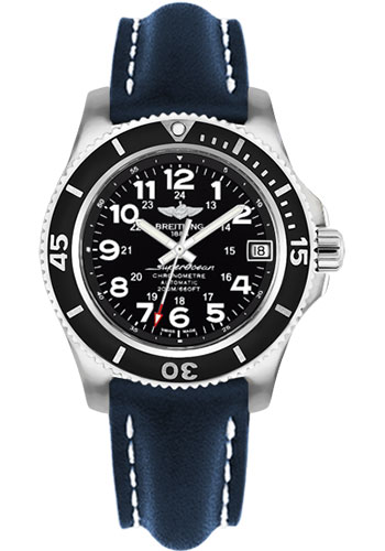 Breitling Watches - Superocean II 36mm - Leather Strap - Deployant - Style No: A17312C9/BD91-leather-blue-deployant