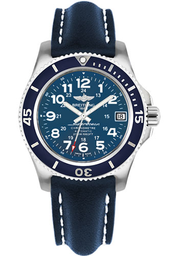 Breitling Watches - Superocean II 36mm - Leather Strap - Deployant - Style No: A17312D1/C938-leather-blue-deployant