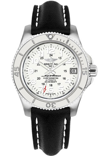 Breitling Watches - Superocean II 36mm - Leather Strap - Deployant - Style No: A17312D2/A775-leather-black-deployant