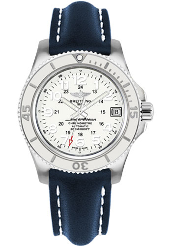 Breitling Watches - Superocean II 36mm - Leather Strap - Tang - Style No: A17312D2/A775-leather-blue-tang