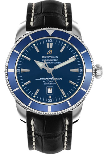 Breitling Watches - Superocean Heritage 46 Croco Strap - Deployant - Style No: A1732016/C734-croco-black-deployant