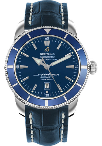 Breitling Watches - Superocean Heritage 46 Croco Strap - Deployant - Style No: A1732016/C734-croco-blue-deployant