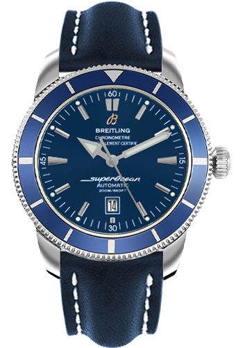 Breitling Watches - Superocean Heritage 46 Leather Strap - Tang - Style No: A1732016/C734-leather-blue-tang