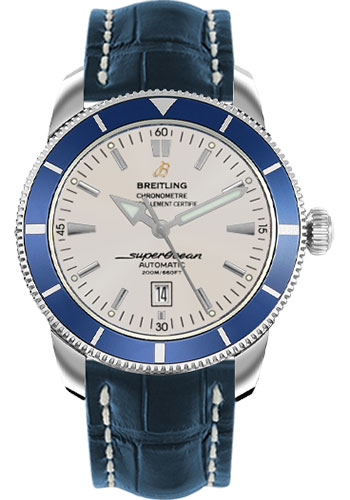 Breitling Watches - Superocean Heritage 46 Croco Strap - Deployant - Style No: A1732016/G642-croco-blue-deployant