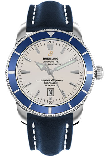 Breitling Watches - Superocean Heritage 46 Leather Strap - Tang - Style No: A1732016/G642-leather-blue-tang