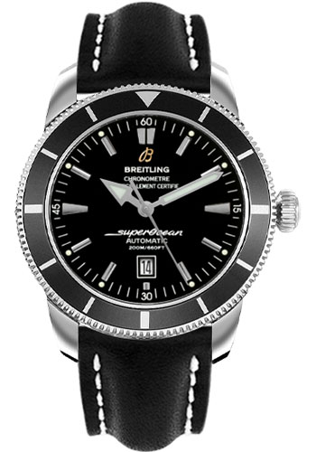 Breitling Watches - Superocean Heritage 46 Leather Strap - Style No: A1732024/B868-leather-black-deployant