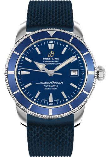 Breitling Watches - Superocean Heritage 42 Aero Classic Rubber Strap - Tang - Style No: A1732116/C832-aero-classic-rubber-blue-tang
