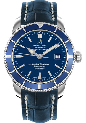 Breitling Watches - Superocean Heritage 42 Croco Strap - Tang - Style No: A1732116/C832-croco-blue-tang