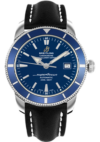 Breitling Watches - Superocean Heritage 42 Leather Strap - Deployant - Style No: A1732116/C832-leather-black-deployant