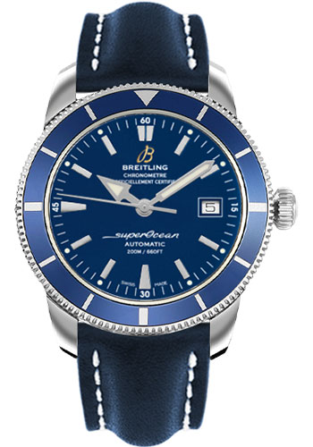 Breitling Watches - Superocean Heritage 42 Leather Strap - Deployant - Style No: A1732116/C832-leather-blue-deployant